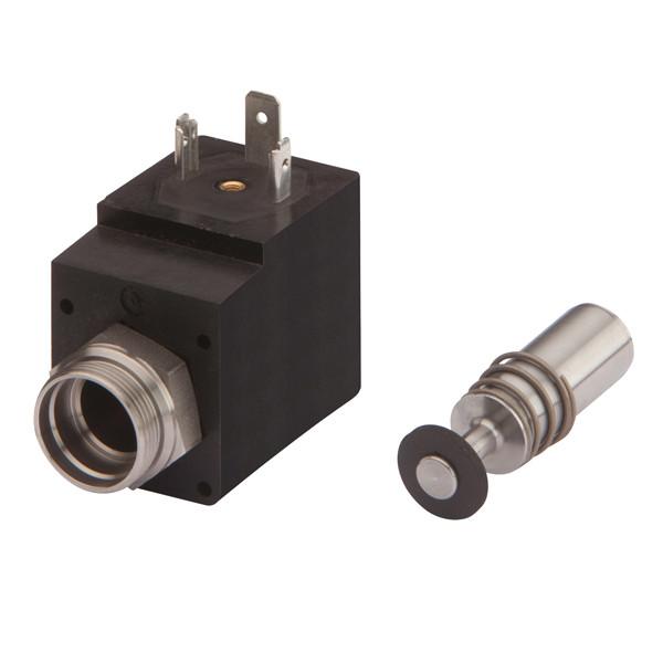 Magnetspule mit Stössel/Feder 2/2, Sitztiefe 10 mm, M20x1