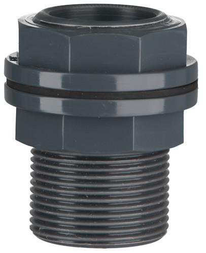 "PVC Durchführung für Poly-Behälter, 10 bar 40 x 40 mm x 1 1/2"" AG"