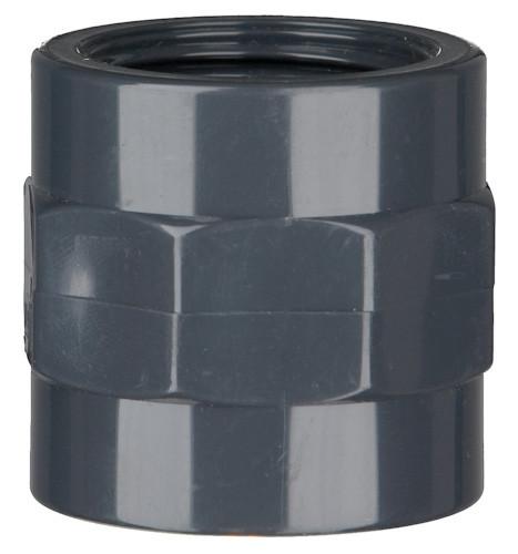 "PVC-Gewindemuffe /10 bar 25 mm x 3/4"" IG, 1 x Klebemuffe, 1 x Innengewinde"