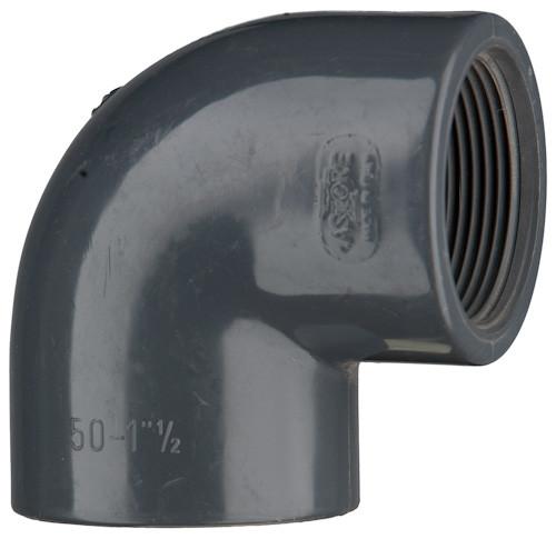 "PVC-Winkel 90°, 10 bar 50 mm x 1 1/2"" IG, 1 x Klebemuffe,1 x Innengewinde"
