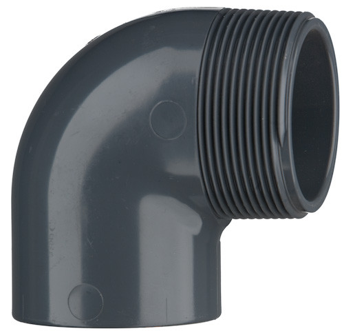 "PVC-Winkel 90°, 10 bar 32 mm x 1"" AG, 1 x Klebemuffe, 1 x AG"