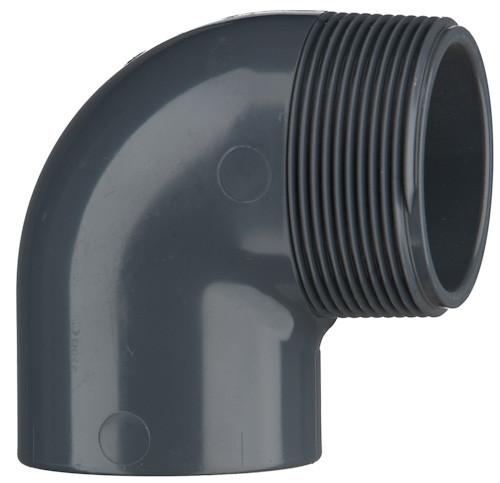 "PVC-Winkel 90°, 10 bar 50 mm x 1 1/4"" AG, 1 x Klebemuffe, 1 x AG"