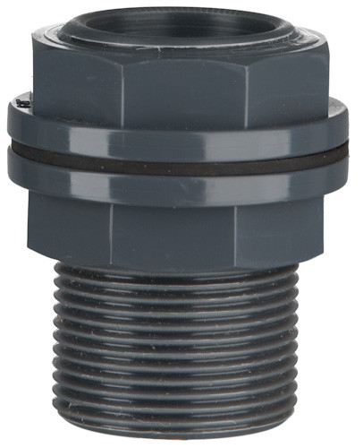 "PVC Durchführung für Poly-Behälter, 10 bar 32 x 32 mm x 1 1/4"" AG"