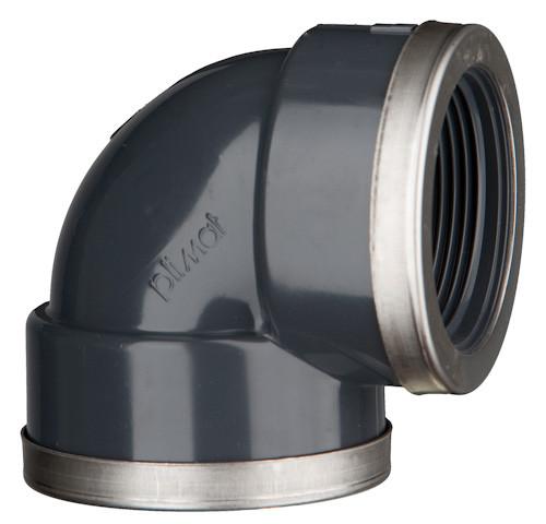 """PVC-Winkel 90°, 10 bar 1 1/4"""", 2 x Innengewinde mit Verstärkungsring"""