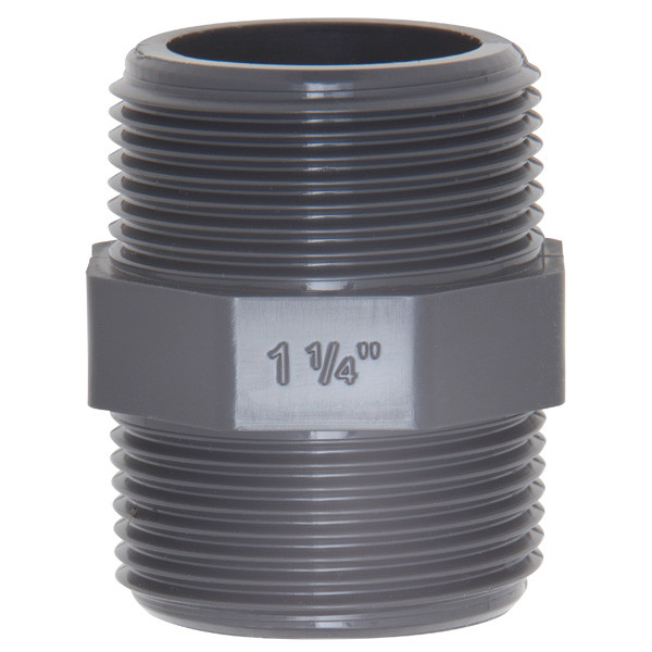 """PVC-Doppelnippel 1 1/4"""" AG x 1 1/4"""" AG"""